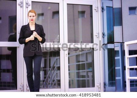 Businesswoman leaving her working place