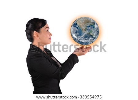 businesswoman lifting the world (Element of this image furnished by NASA) - stock photo