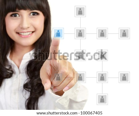 Businesswoman looking for business partner on modern technology screen - stock photo