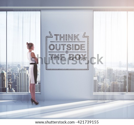Businesswoman looking outside of window in empty interior with sketch on wall. Concept of thinking outside the box. 3D Rendering - stock photo
