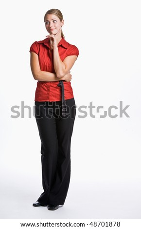 Businesswoman looking skeptical - stock photo