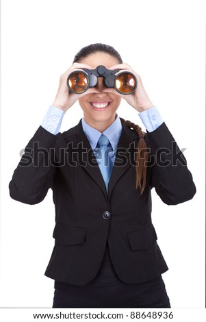 businesswoman looking through binoculars isolated over white background - stock photo