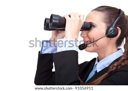 businesswoman looking through binoculars ,side view, isolated on white background