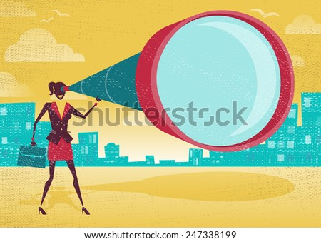 Businesswoman looks through her Telescope. Great illustration of Retro styled Businesswoman who's getting a really great view of the business landscape with her gigantic telescope. - stock photo