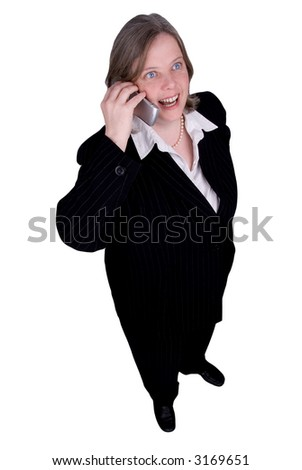 Businesswoman making a cell phone call isolated over white with a clipping path - stock photo