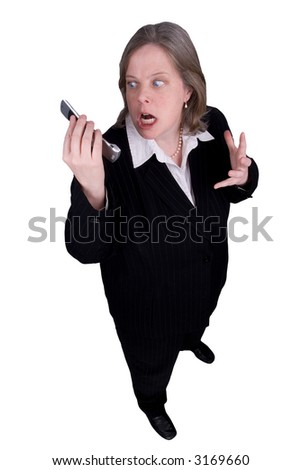 Businesswoman making a cell phone call with a funny expression isolated over white with a clipping path - stock photo