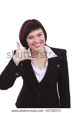 Businesswoman making phone shape with her hands isolated on a white background. Beatiful female using her fingers to display the call me gesture. Cheerful businesswoman phone call gesture. - stock photo