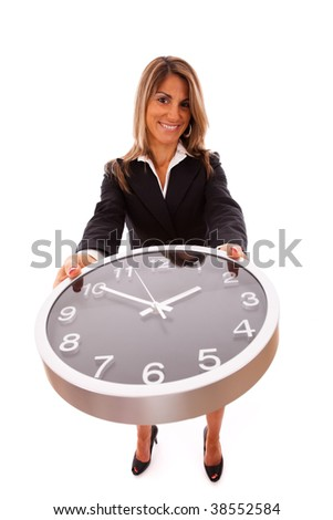 businesswoman managing her business time - stock photo
