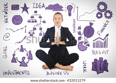 Businesswoman meditating with various business concepts - stock photo