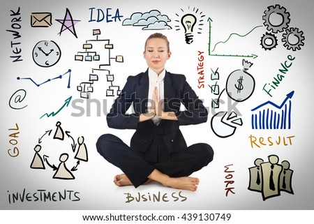 Businesswoman meditating with various business concepts