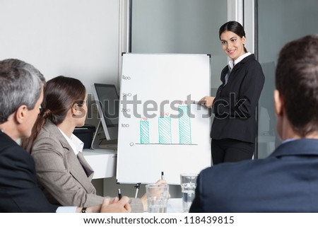 Businesswoman moderating strategy meeting for a business team in the office - stock photo