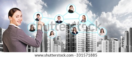 Businesswoman nearby portrait icons with connection lines. Urban background.