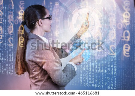Businesswoman of digital age in concept