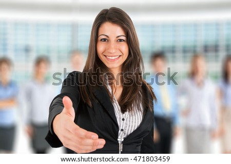 Businesswoman offering an handshake