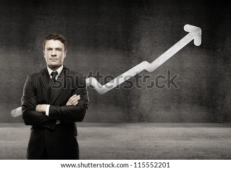 Businesswoman on a background of growth chart - stock photo