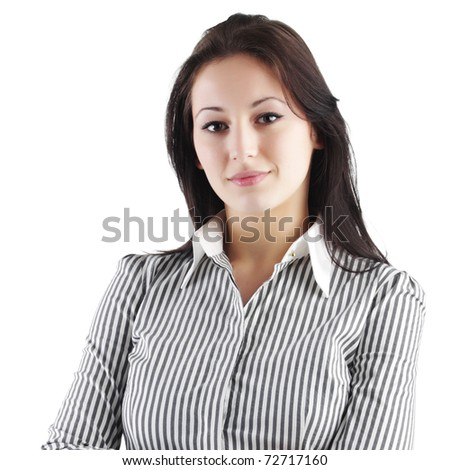businesswoman on a white background - stock photo