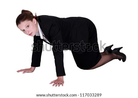 businesswoman on all fours - stock photo