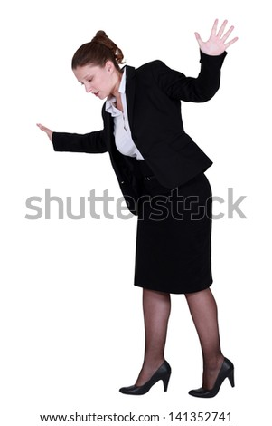 Businesswoman on the edge - stock photo
