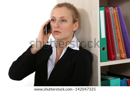 businesswoman on the phone - stock photo