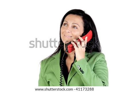 Businesswoman on the telephone isolated on white background - stock photo