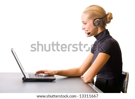Businesswoman or secretary with headset and laptop at office, isolated - stock photo