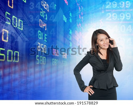 Businesswoman or stock broker ,stock exchange graph background