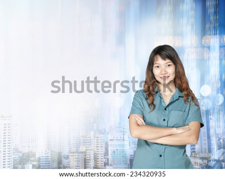 Businesswoman or stock broker ,stock exchange graph background  - stock photo