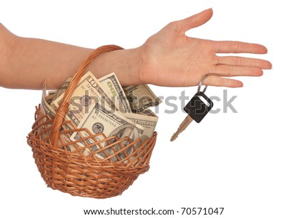 businesswoman owns the basket with dollars for stable business - stock photo