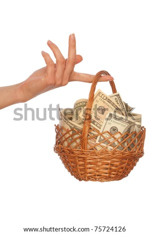 businesswoman owns the currency basket with dollars for stable business - stock photo