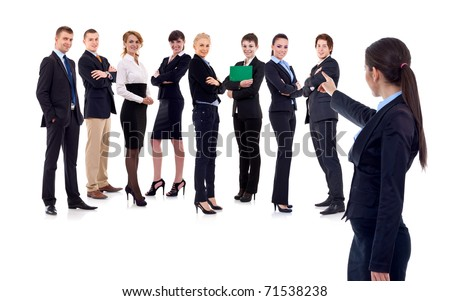 businesswoman picking someone from her team isolated on white - stock photo