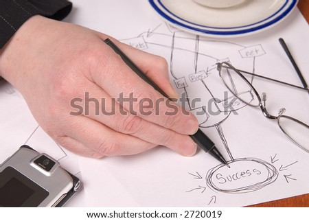 businesswoman planning growth strategies on a table with business tools - stock photo