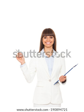 Businesswoman point pen to empty copy space, business woman showing pointing side, concept of advertisement product. Isolated over white background - stock photo
