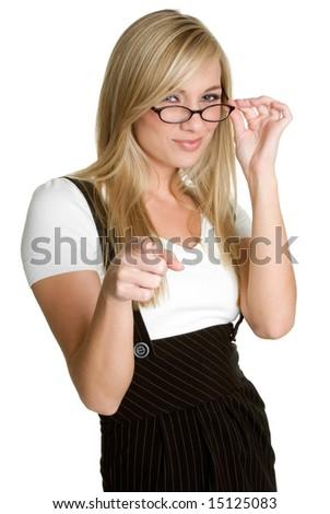 Businesswoman Pointing - stock photo