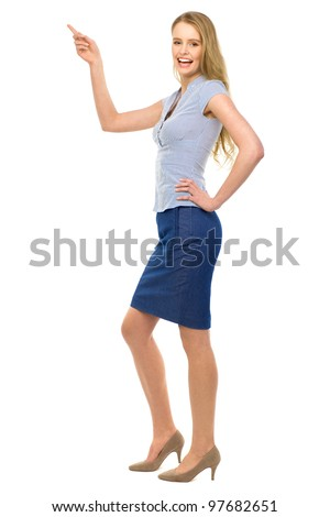 Businesswoman pointing - stock photo