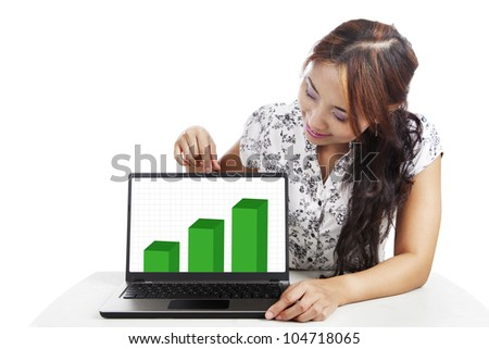 Businesswoman pointing at a laptop with graph isolated on white