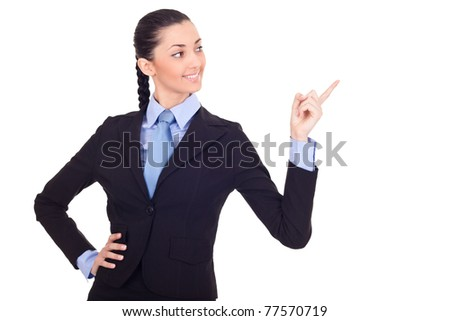 businesswoman pointing in advertising, isolated on white background - stock photo