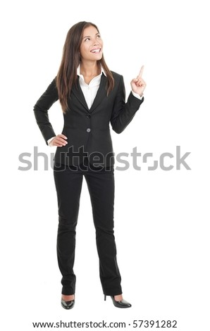 Businesswoman pointing / showing in full length isolated on white background. Young confident mixed race chinese / caucasian woman business woman. - stock photo