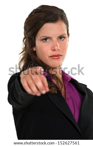 Businesswoman pointing the blame - stock photo