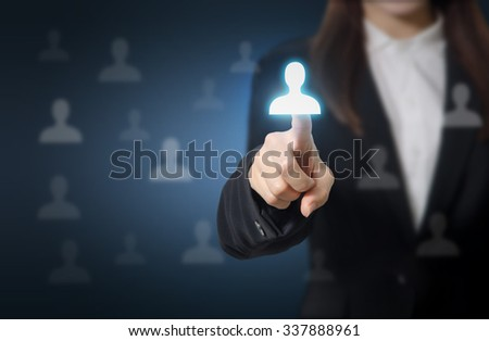 Businesswoman pointing to businessman icon HR, recruitment and chosen concept - stock photo