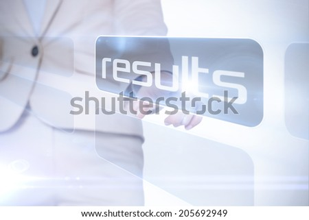 Businesswoman pointing to word results against white background with vignette - stock photo