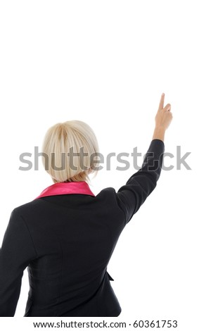 Businesswoman points finger up. Isolated on white background - stock photo