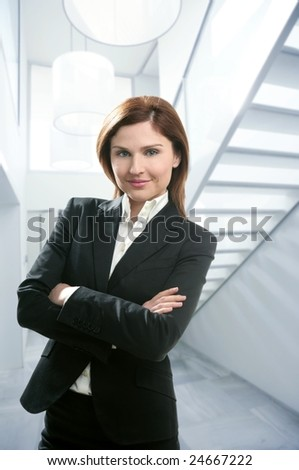 Businesswoman portrait at home in modern white stairway [Photo Illustration] - stock photo