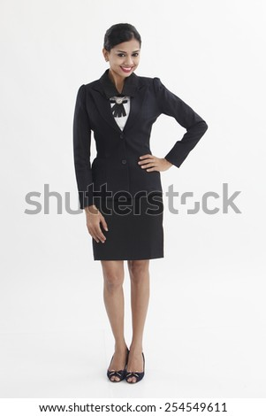 Businesswoman portrait with full length - stock photo
