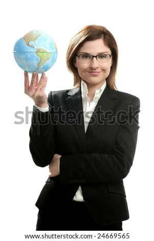 Businesswoman portrait with global map, isolated on white studio background - stock photo