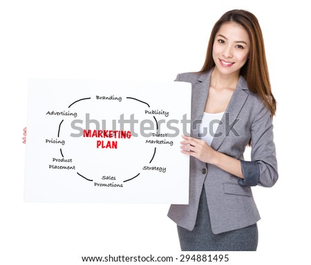 Businesswoman present on white board with marketing planning