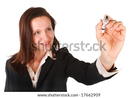 businesswoman presenting drawing something, put your text