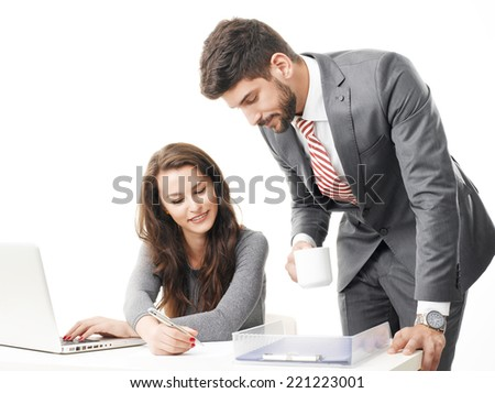 Businesswoman presenting her idea to her colleagues against white background. Team work. - stock photo