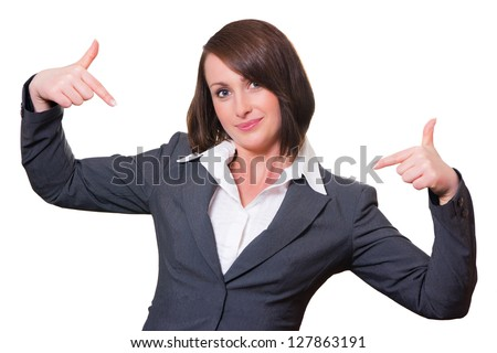 Businesswoman presenting herself - stock photo