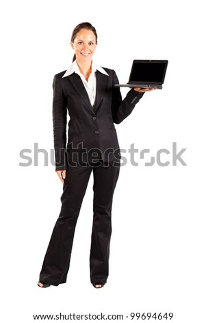 businesswoman presenting laptop on white