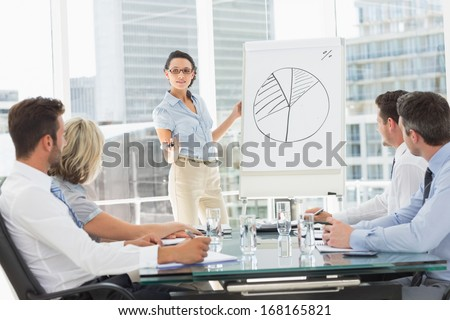 Businesswoman presenting new project to partners - stock photo